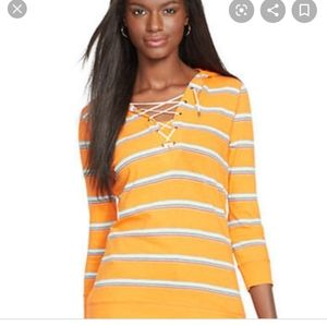 NWT! Ralph Lauren orange stripe hooded long sleeve